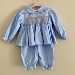 NWOT Eliza James blue smocked long sleeve pant set